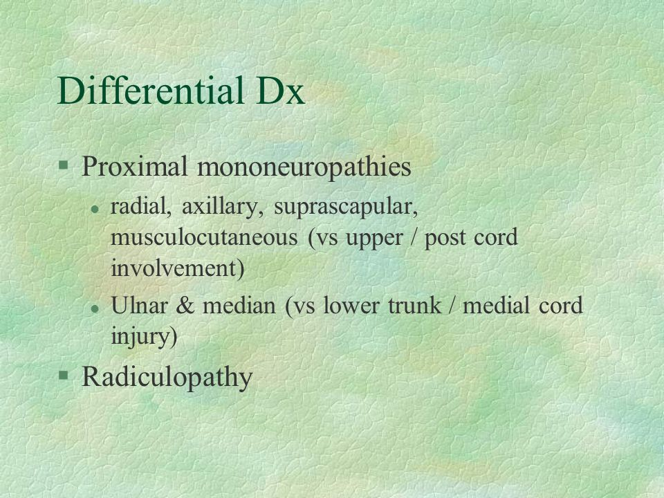 Differential Dx Proximal mononeuropathies Radiculopathy