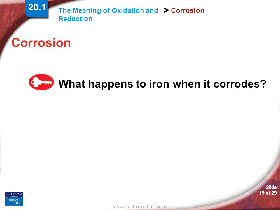 20.1 Corrosion Corrosion What happens to iron when it corrodes