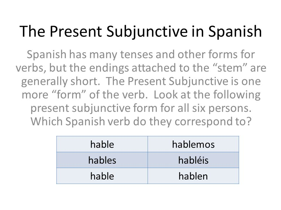 The Present Subjunctive in Spanish - ppt download