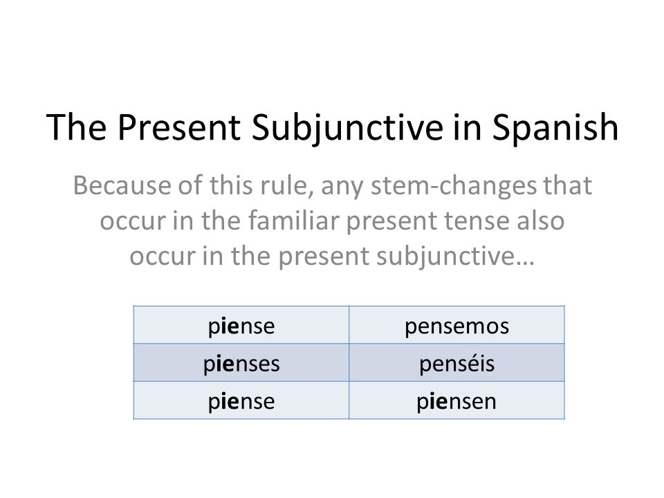 The Present Subjunctive in Spanish