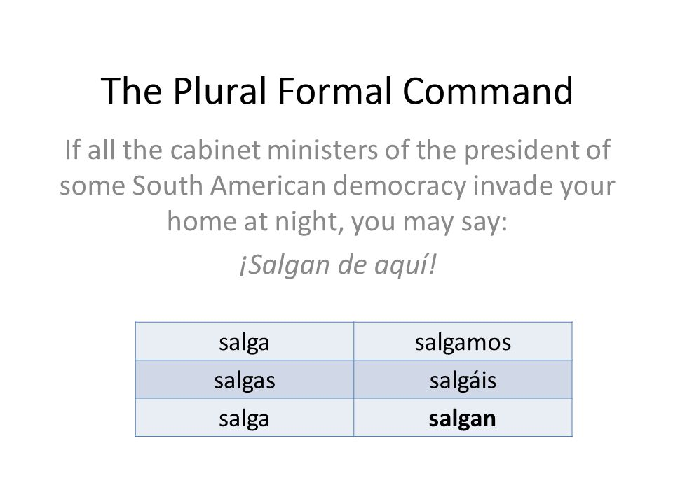 The Plural Formal Command