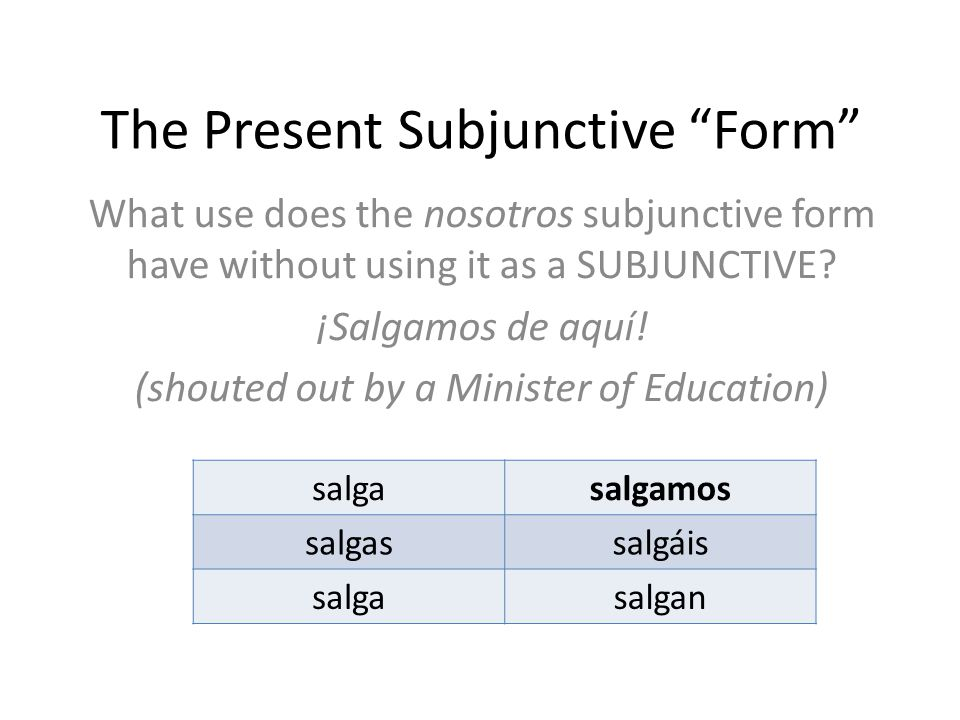 The Present Subjunctive Form