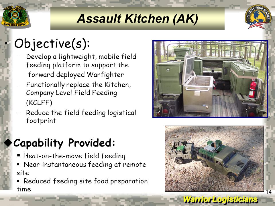 Assault Kitchen (AK) Objective(s): Capability Provided: