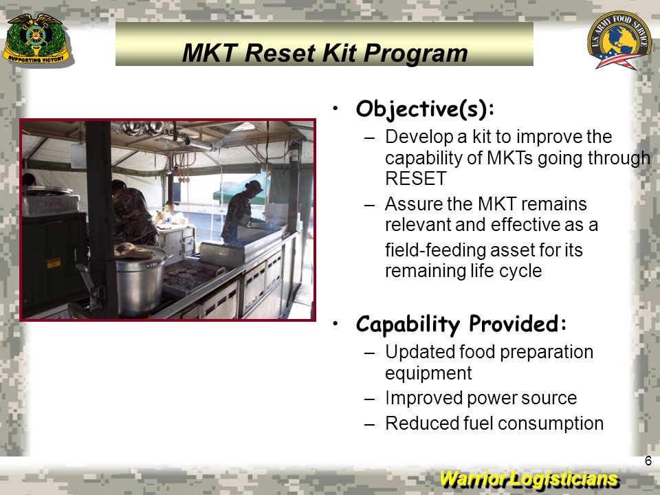 MKT Reset Kit Program Objective(s): Capability Provided: