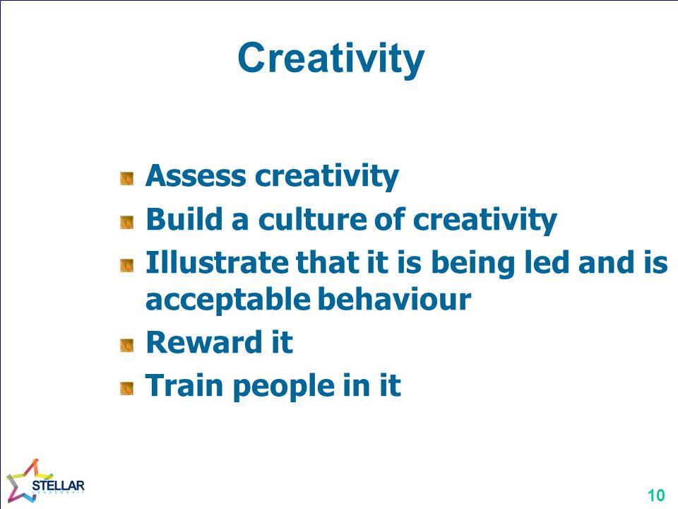 Creativity Assess creativity Build a culture of creativity