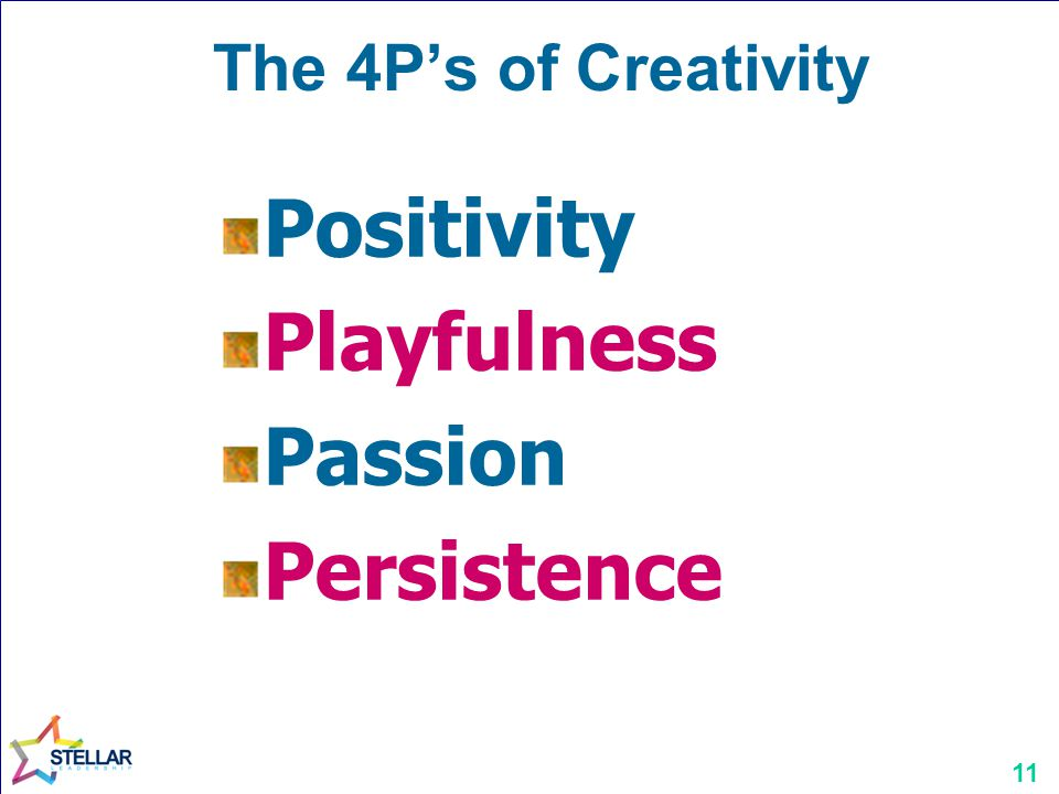 The 4P's of Creativity Positivity Playfulness Passion Persistence