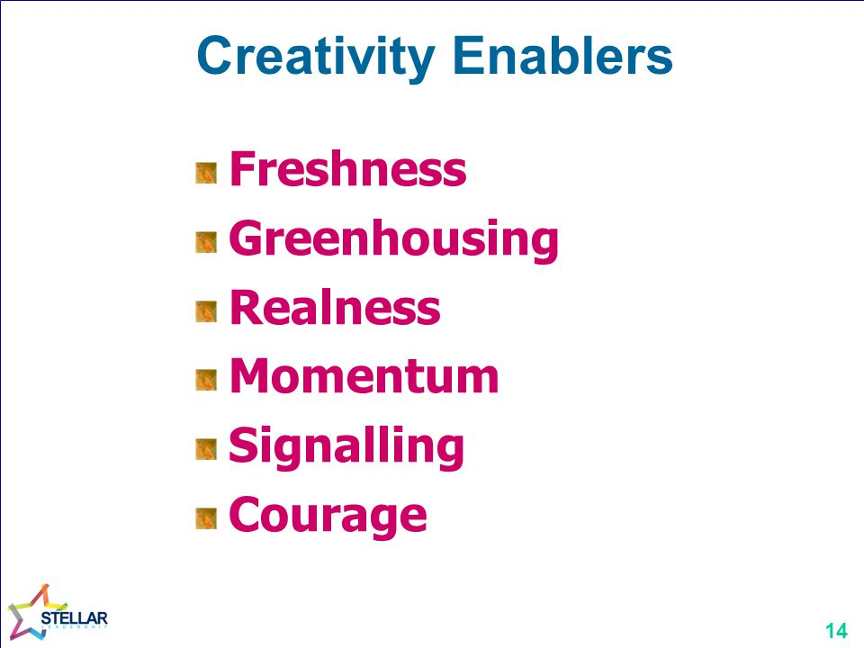 Creativity Enablers Freshness Greenhousing Realness Momentum