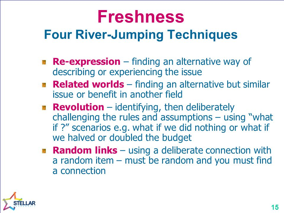 Freshness Four River-Jumping Techniques