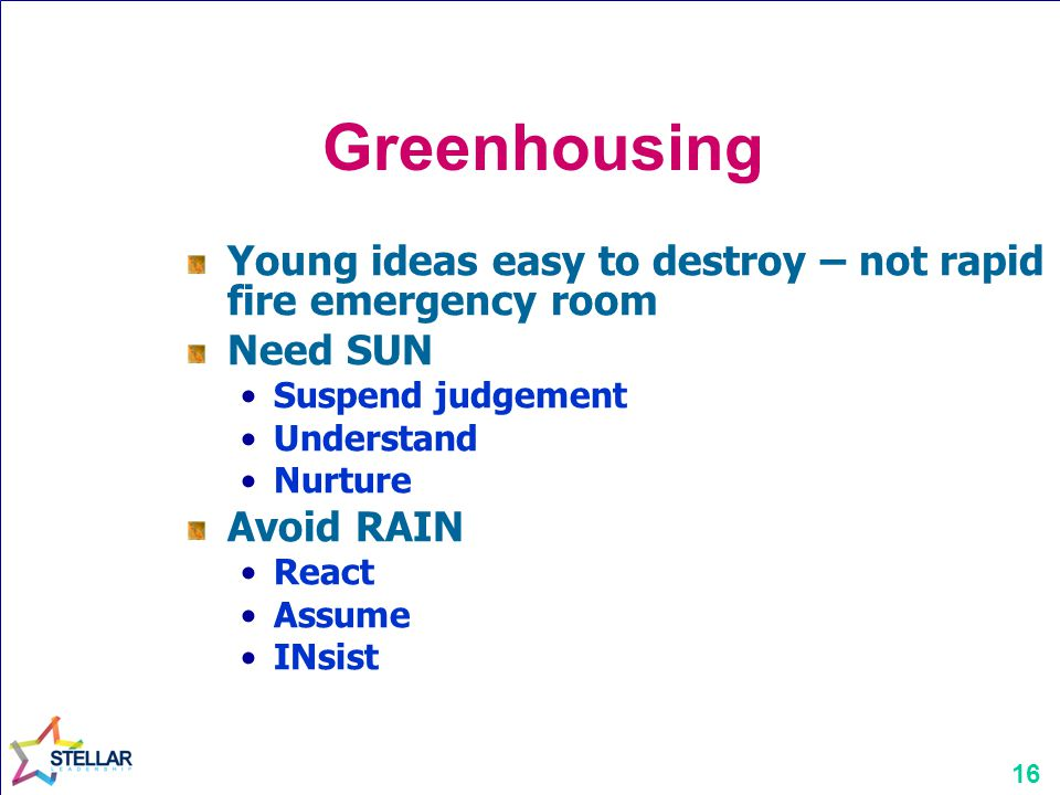Greenhousing Young ideas easy to destroy – not rapid fire emergency room. Need SUN. Suspend judgement.