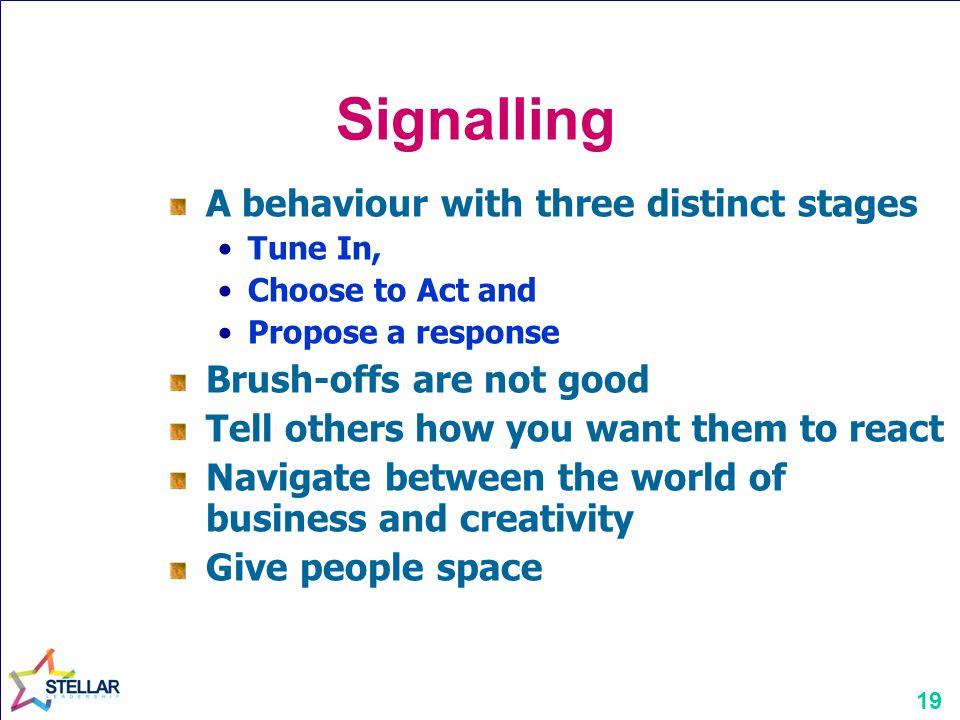 Signalling A behaviour with three distinct stages