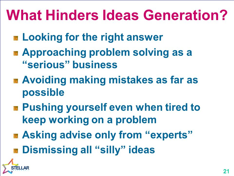 What Hinders Ideas Generation