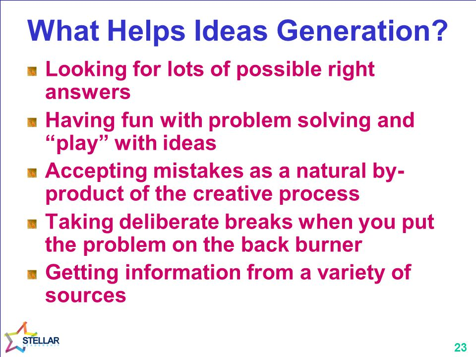 What Helps Ideas Generation