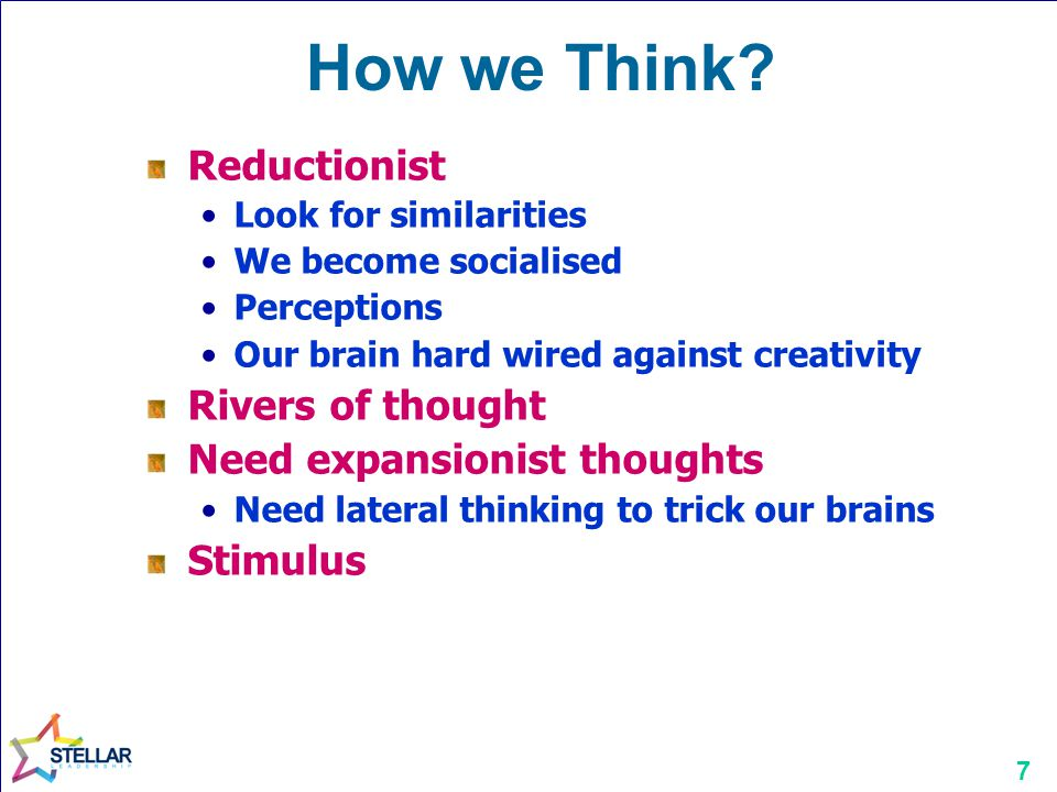 How we Think Reductionist Rivers of thought