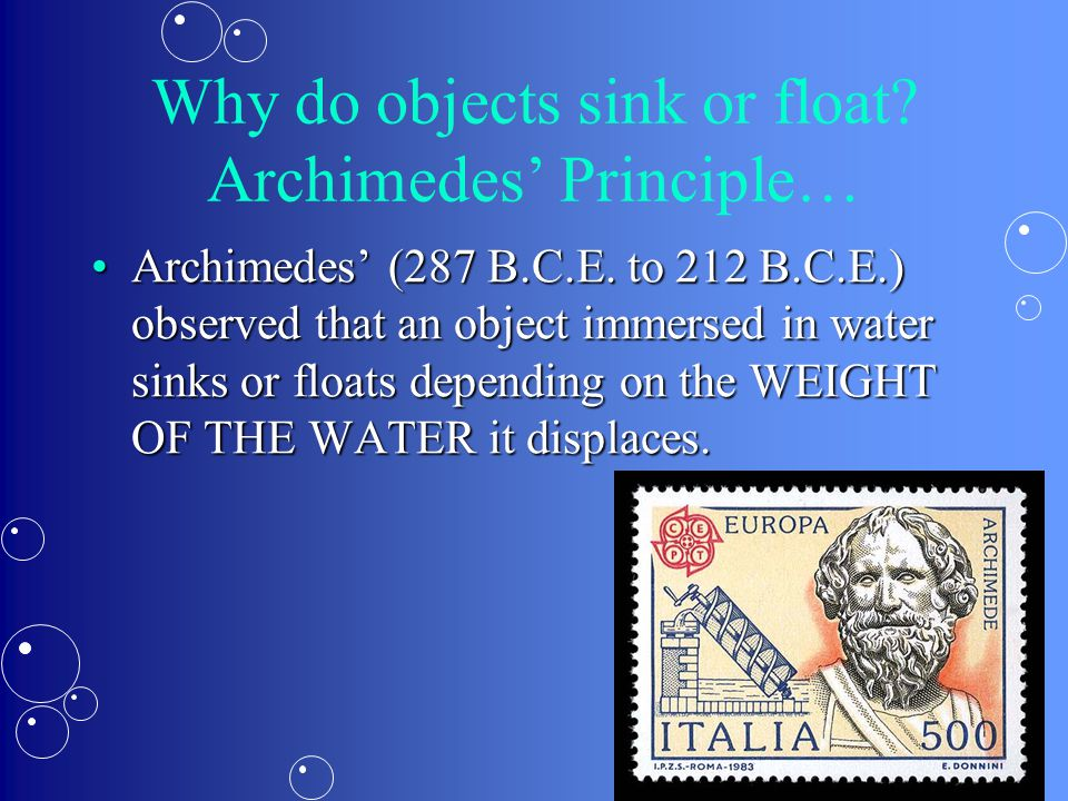 Why do objects sink or float Archimedes' Principle…