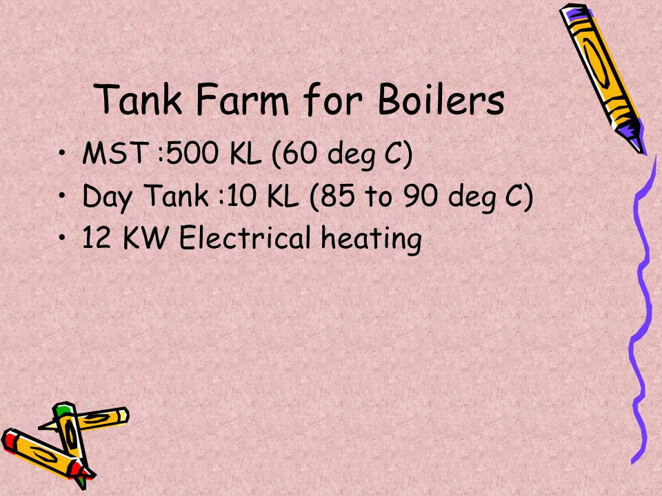 Tank Farm for Boilers MST :500 KL (60 deg C)