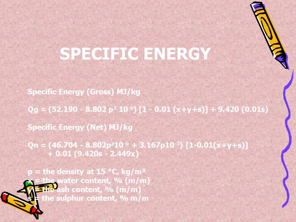 SPECIFIC ENERGY Specific Energy (Gross) MJ/kg