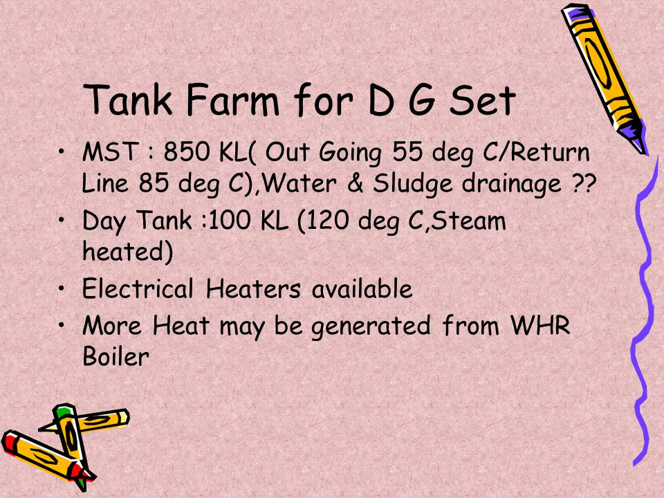 Tank Farm for D G Set MST : 850 KL( Out Going 55 deg C/Return Line 85 deg C),Water & Sludge drainage