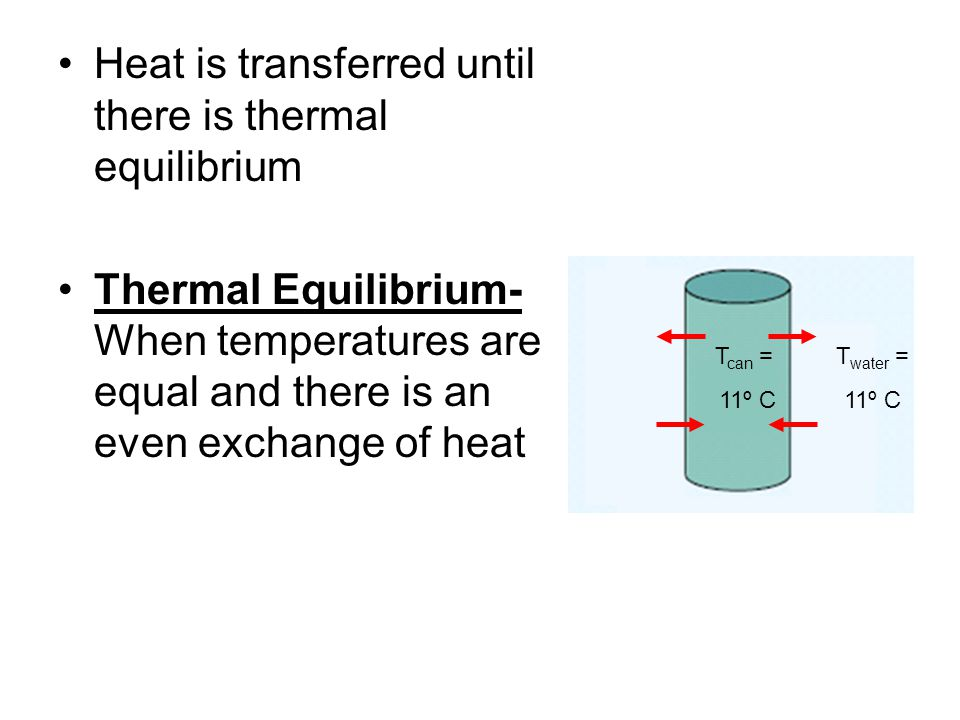 Heat is transferred until there is thermal equilibrium
