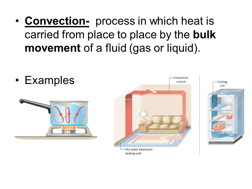 Convection- process in which heat is carried from place to place by the bulk movement of a fluid (gas or liquid).