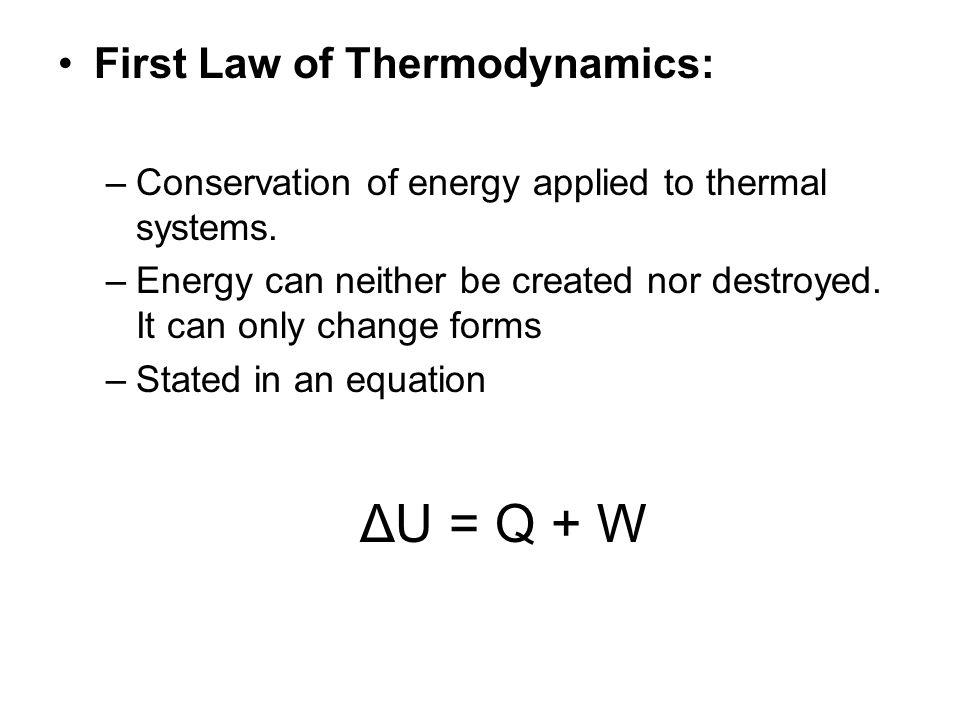 ΔU = Q + W First Law of Thermodynamics: