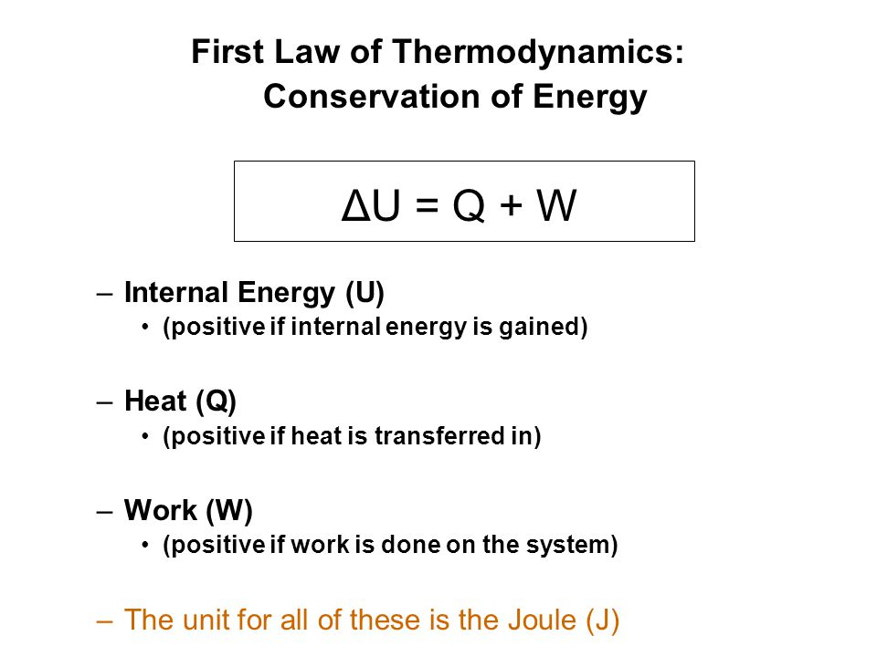 First Law of Thermodynamics: Conservation of Energy