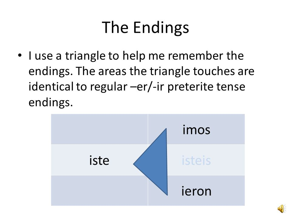 The Endings imos iste isteis ieron