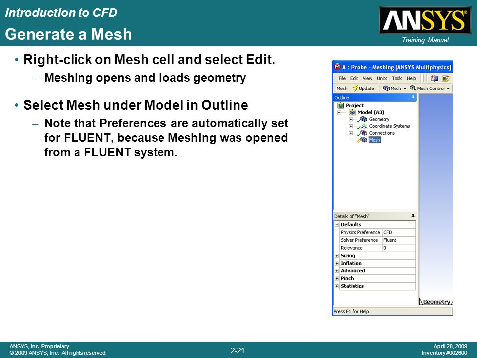 Generate a Mesh Right-click on Mesh cell and select Edit.