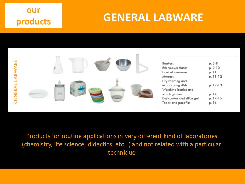 GENERAL LABWARE our products
