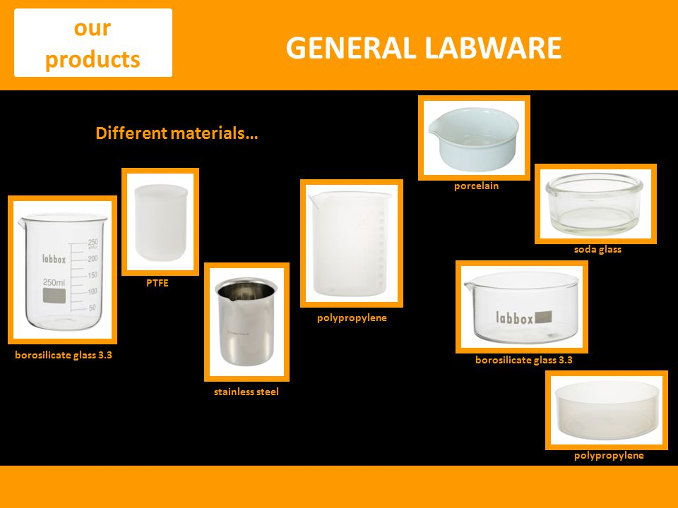 GENERAL LABWARE our products Different materials… porcelain soda glass