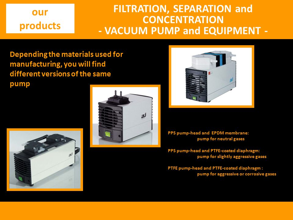 FILTRATION, SEPARATION and CONCENTRATION - VACUUM PUMP and EQUIPMENT -