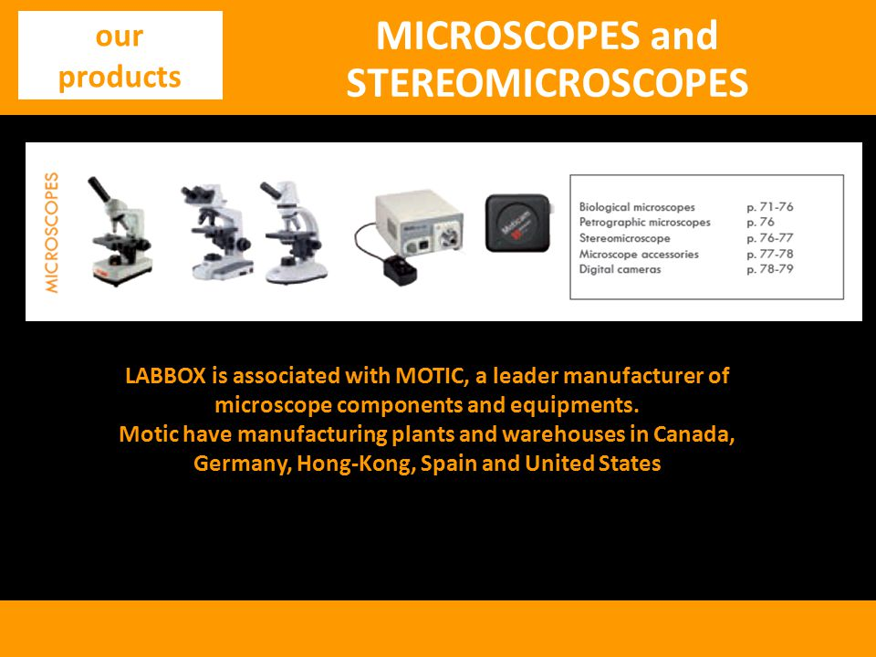 MICROSCOPES and STEREOMICROSCOPES