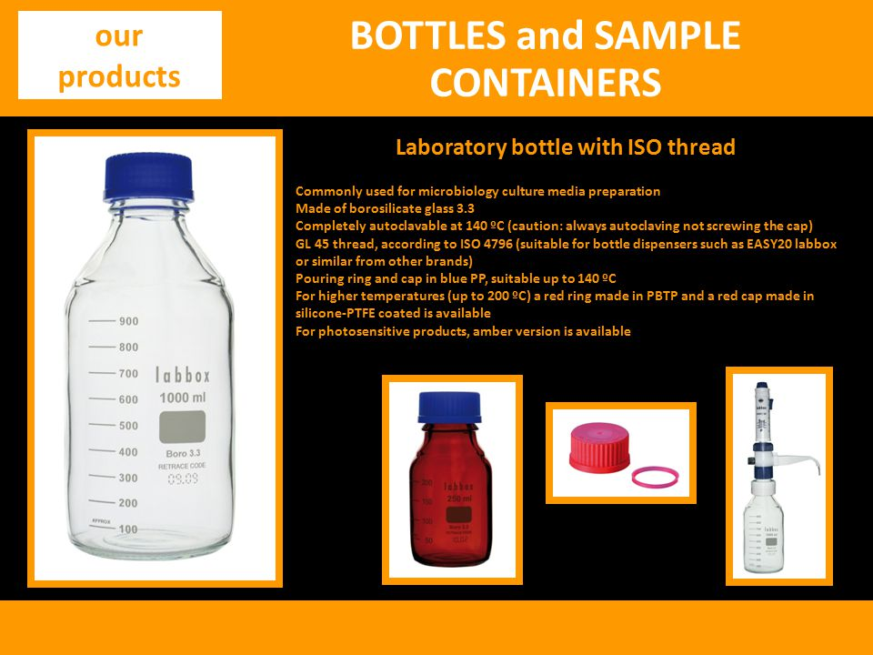 BOTTLES and SAMPLE CONTAINERS Laboratory bottle with ISO thread