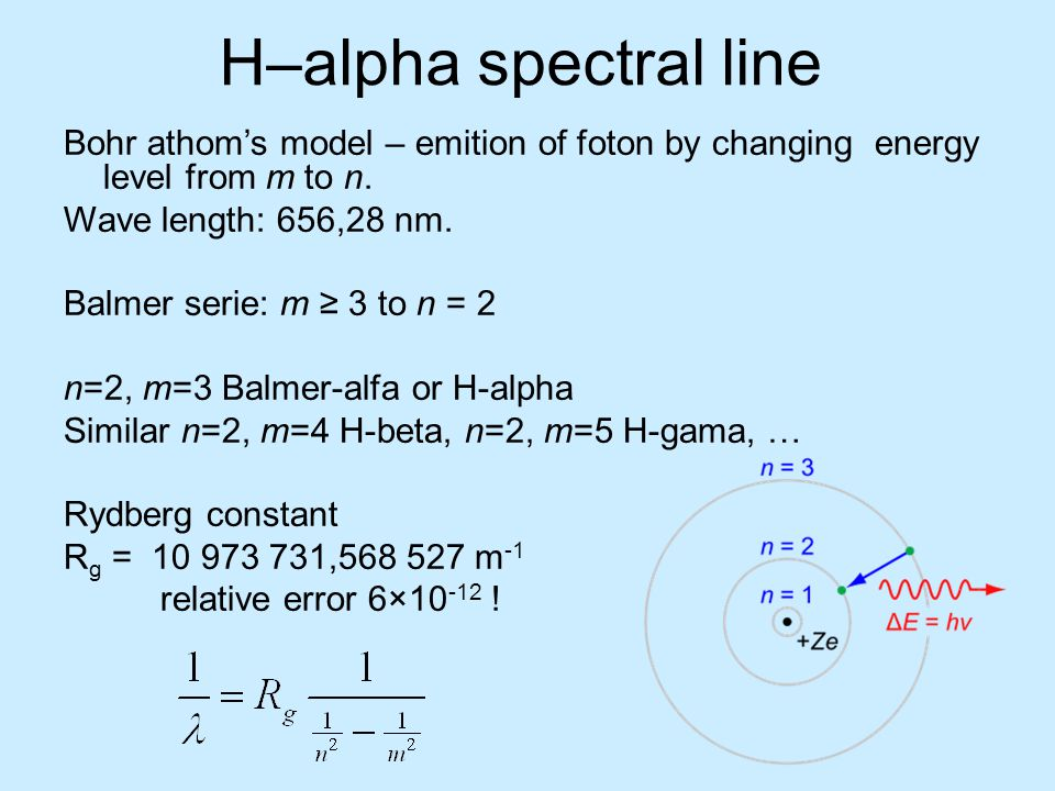 H–alpha spectral line Bohr athom's model – emition of foton by changing energy level from m to n. Wave length: 656,28 nm.