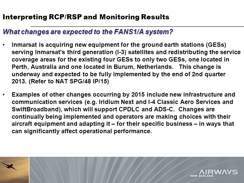 Interpreting RCP/RSP and Monitoring Results
