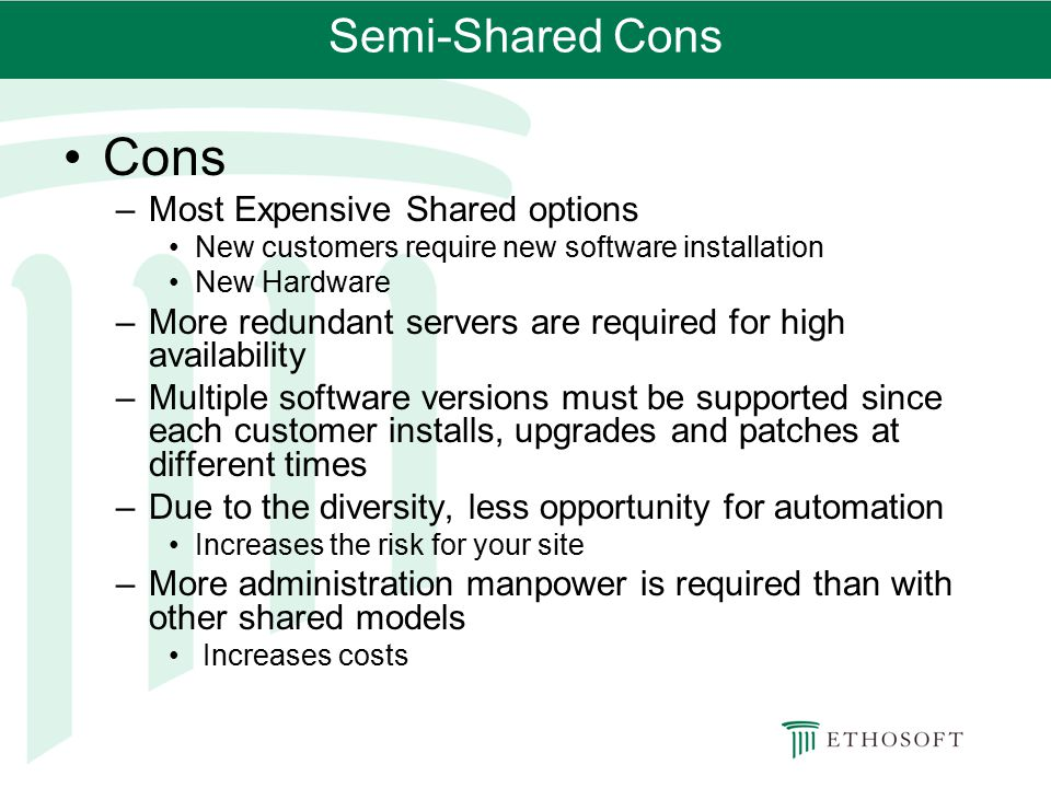 Cons Semi-Shared Cons Most Expensive Shared options