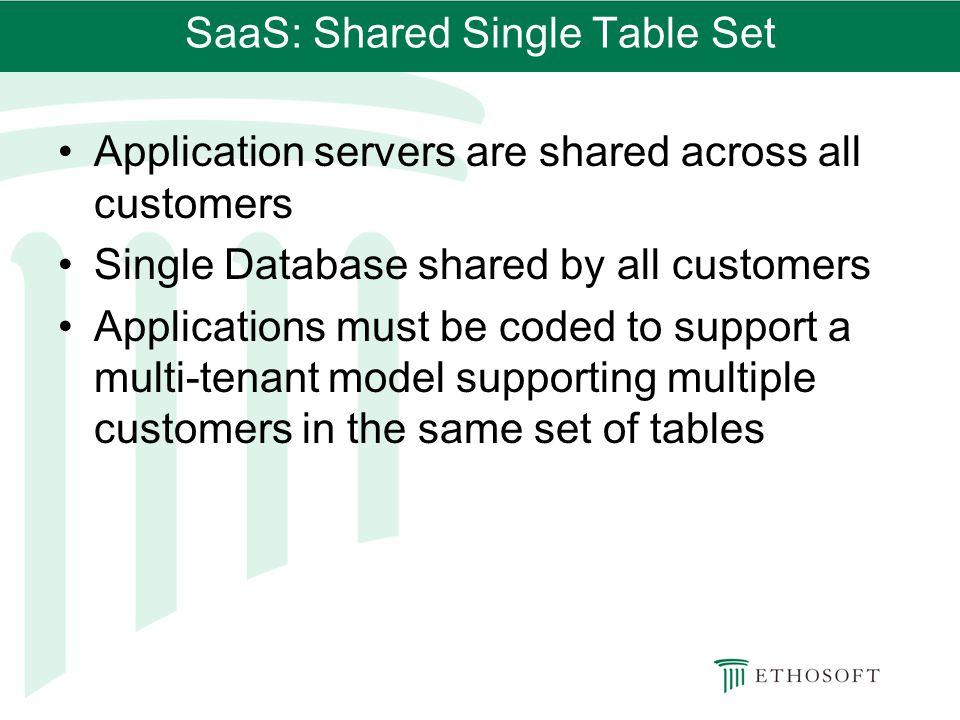 SaaS: Shared Single Table Set