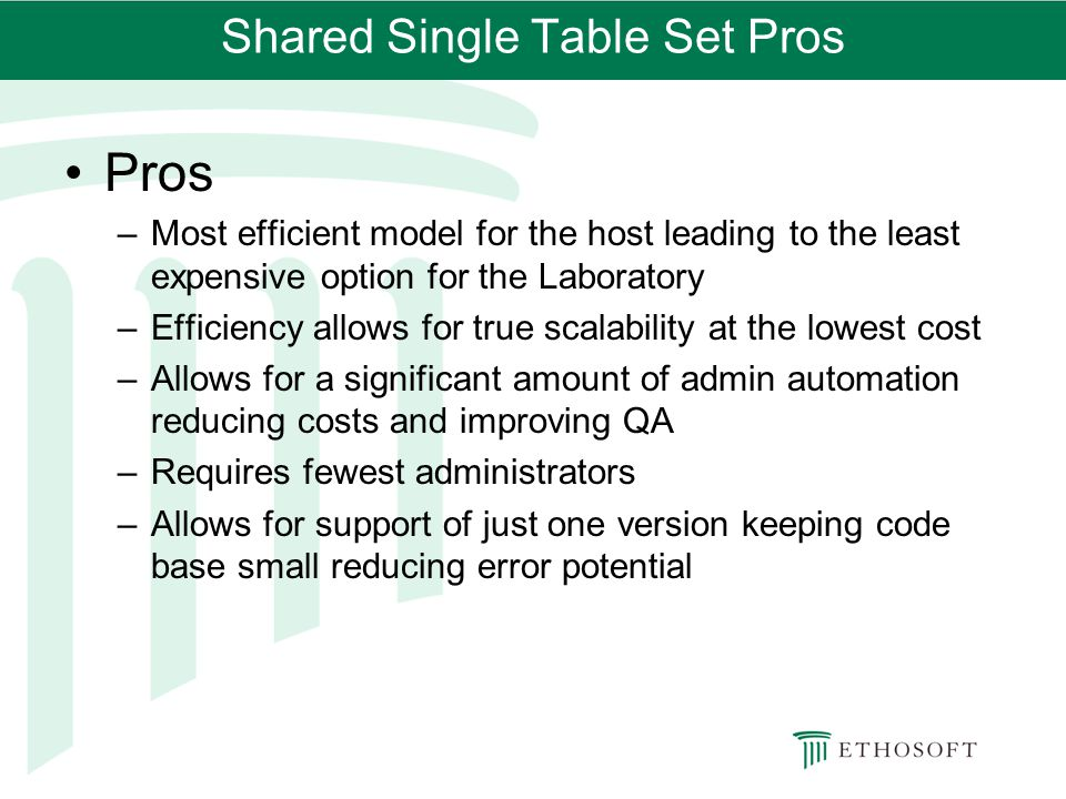 Shared Single Table Set Pros
