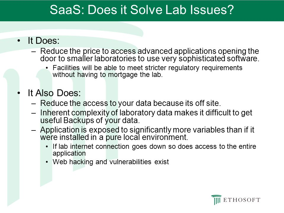 SaaS: Does it Solve Lab Issues