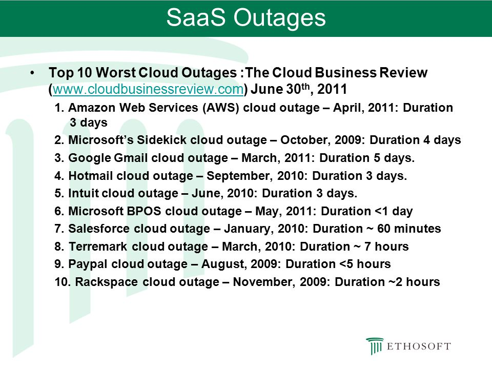 SaaS Outages Top 10 Worst Cloud Outages :The Cloud Business Review (www.cloudbusinessreview.com) June 30th, 2011.