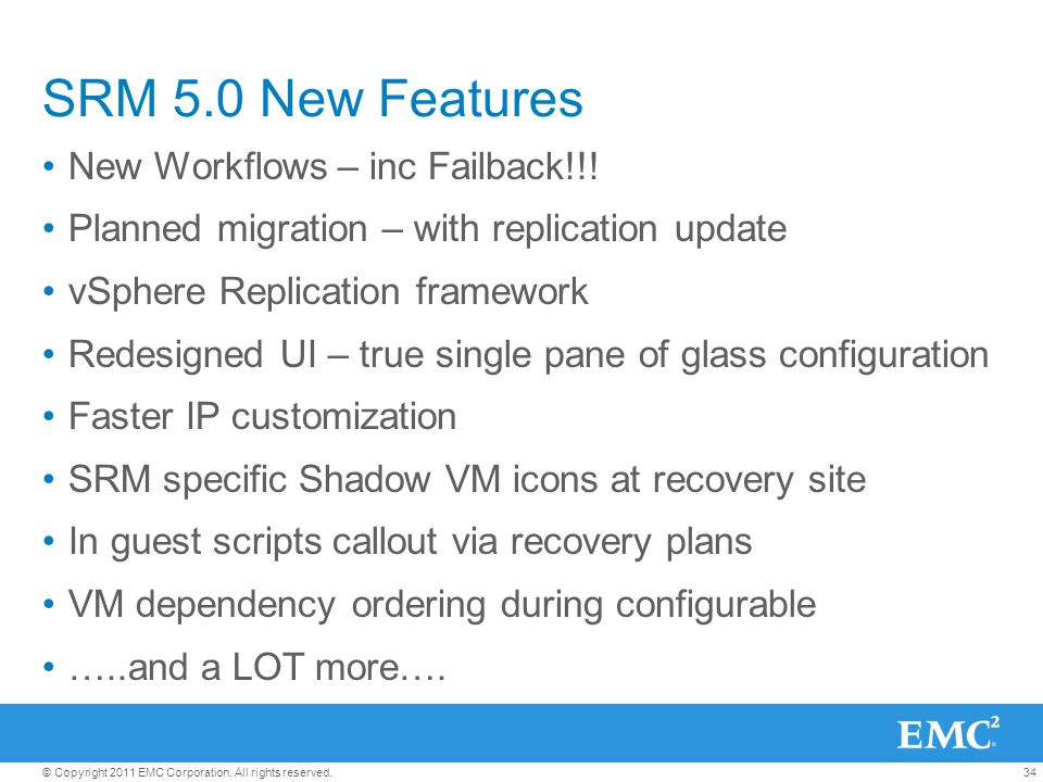 SRM 5.0 New Features New Workflows – inc Failback!!!