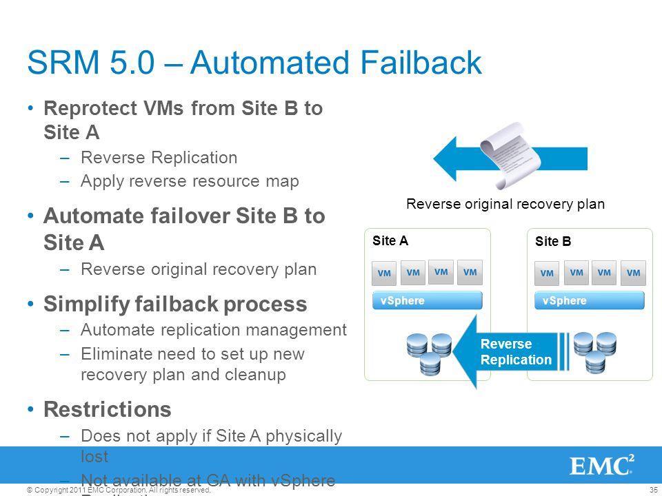 SRM 5.0 – Automated Failback