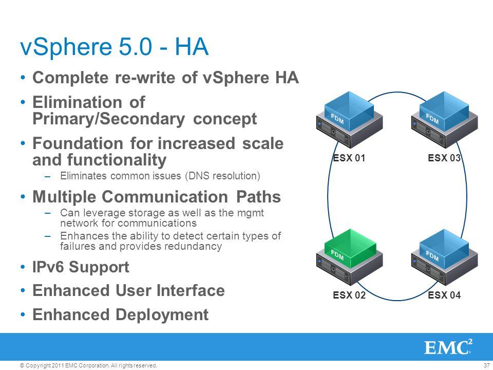 vSphere 5.0 - HA Complete re-write of vSphere HA