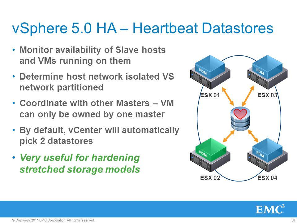 vSphere 5.0 HA – Heartbeat Datastores