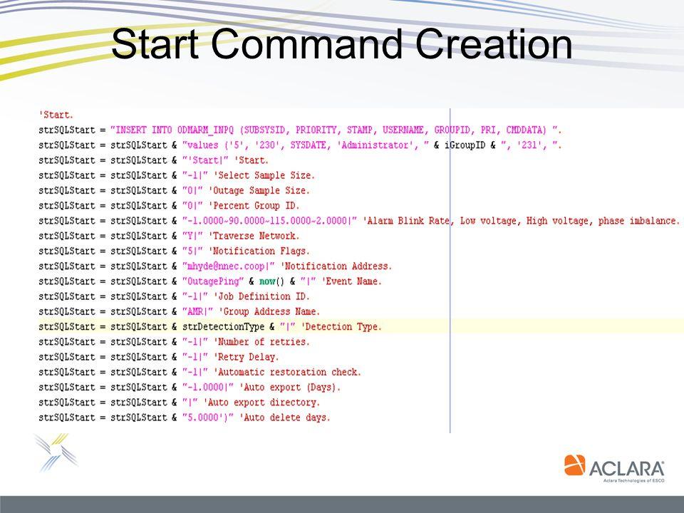 Start Command Creation