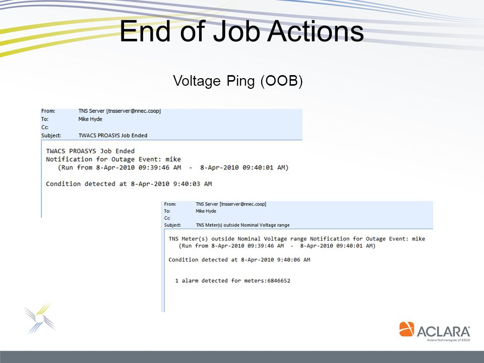 End of Job Actions Voltage Ping (OOB)