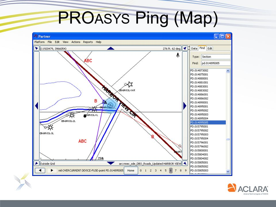 PROasys Ping (Map) Open Map Click Find Select Section.