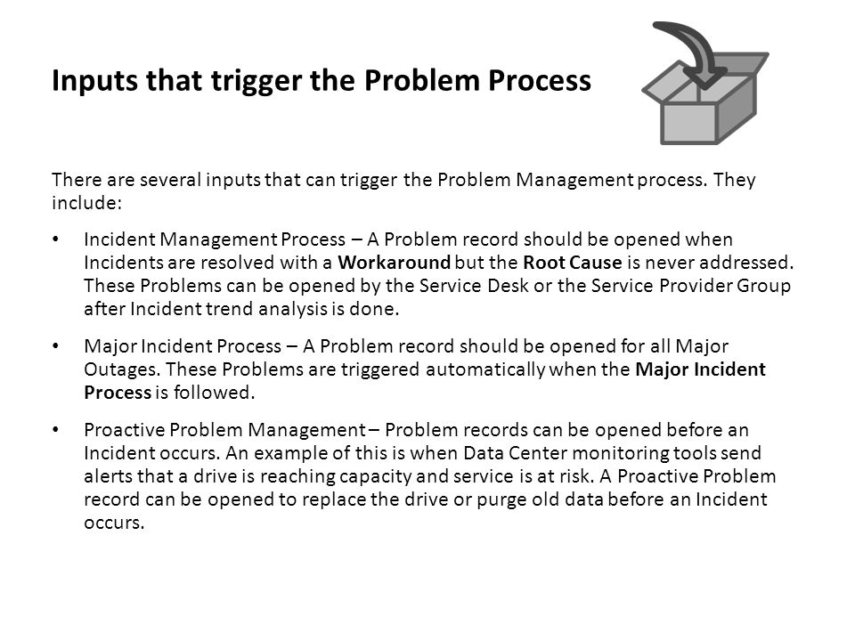 Inputs that trigger the Problem Process