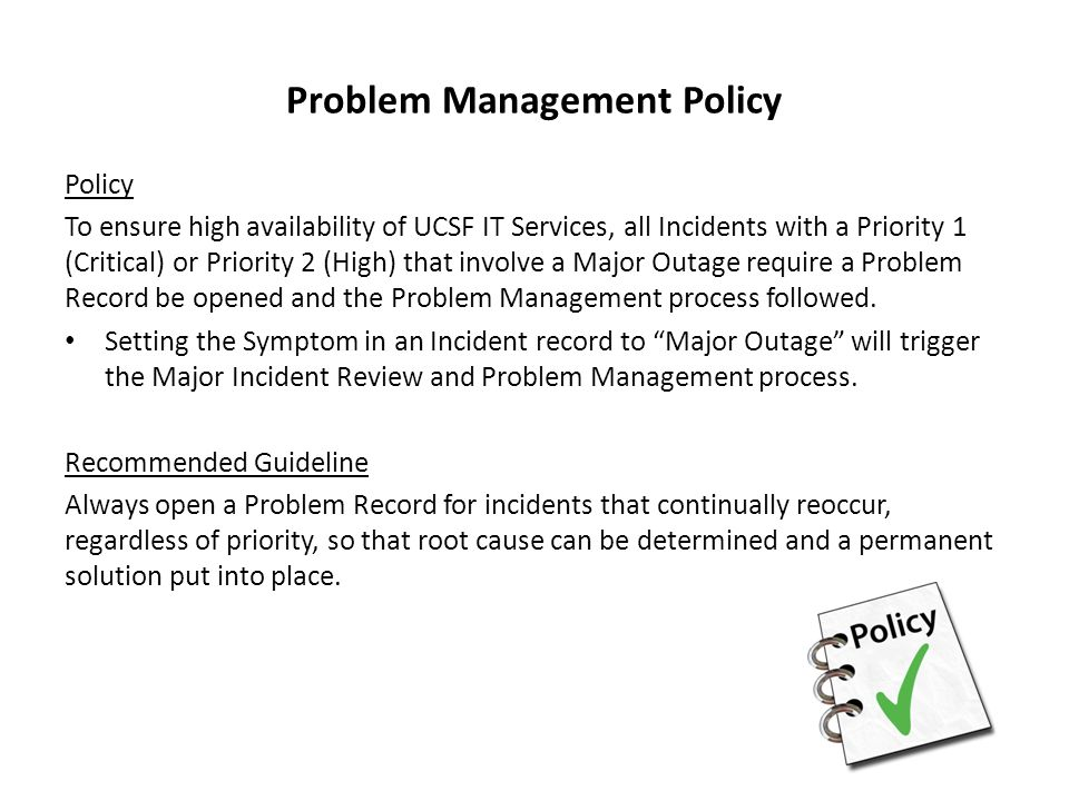 Problem Management Policy