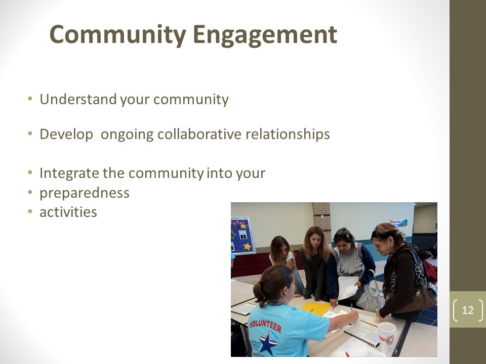 Community Engagement Understand your community
