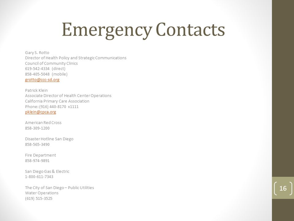 Emergency Contacts Gary S. Rotto